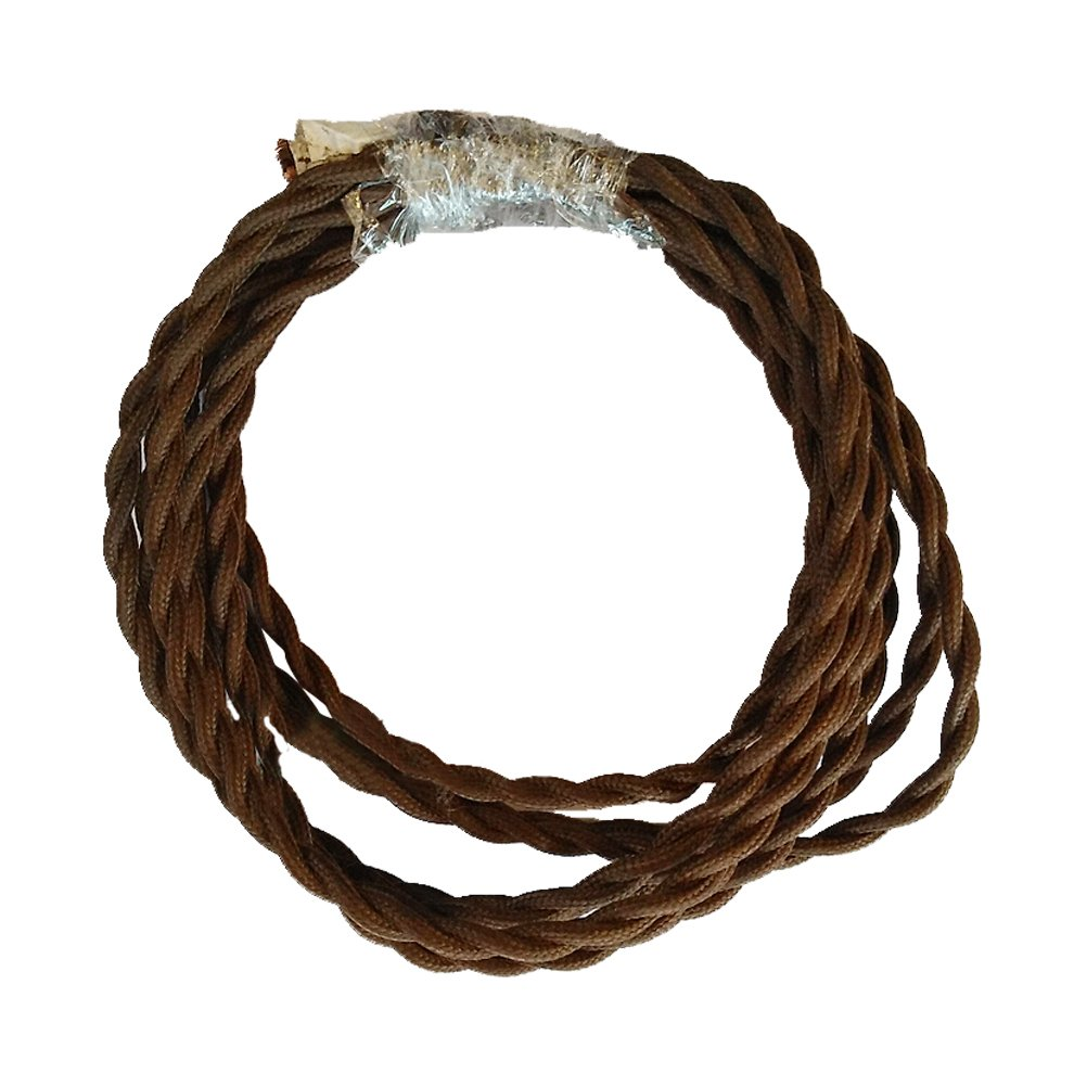 ledmomo 5 m Vintage elettrico filo diy Twisted panno tessuto lampada cavo elettrico Filo Corda Twisted Wire (caffè )