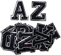"""3"""" English Letter Character Alphabet Sequin Shine Shiny Patch Sew Iron on Embroidered Applique Carft Handmade Baby Kid Girl Women Sexy Hip Hop Snapback Dress Jacket Jean Hat Cap Vest T shirt DIY Costum Cloth"""