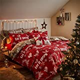 CHRISTMAS LET IT SNOW WREATHS HEARTS WOOD-EFFECT RED TAUPE USA QUEEN SIZE (COMFORTER COVER 230 X 220 - UK KING SIZE) (PLAIN CREAM FITTED SHEET - 152 X 200CM + 25 - UK KING SIZE) 4 PIECE BEDDING SET