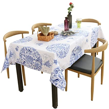 DIDIDD Coffee Table Tablecloth 135 200cm 135 220cm (blue Printing) Dining  Room Kitchen Linen
