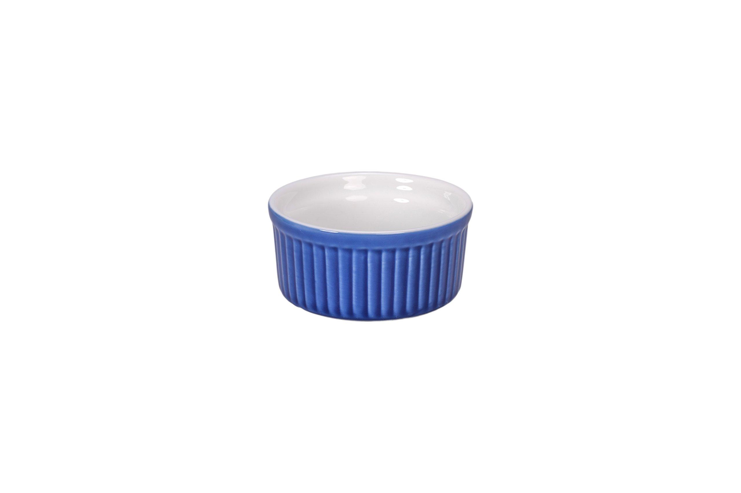 BIA Cordon Bleu 900013+3091S4SIOC Individual Bakeware Souffle Dish, Blue/White