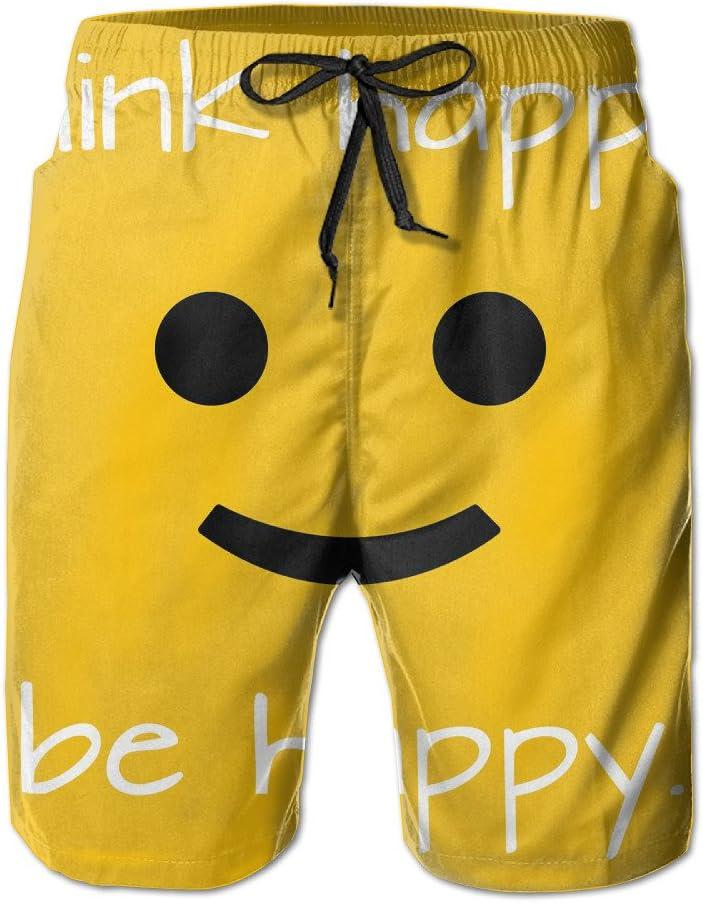 Bdna Think Happy Be Happy Mens Beach Shorts Swim Trunks Casual Sport Print Short Pants Jogging Pants