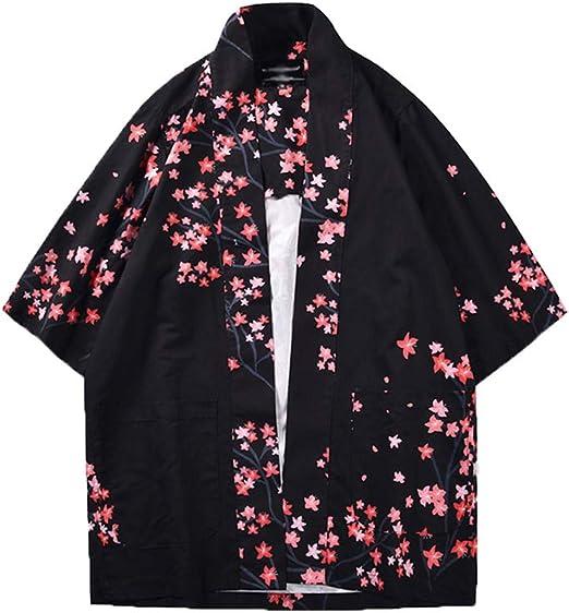Hombre Chal Flojo C/árdigan Kimono Florales Manga 3//4 Tops Blusa