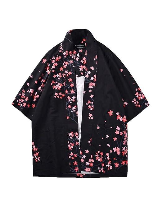 b7a8ea665 Hombre Camisa Kimono Hippie Cloak Estilo Japonés Estampado Holgado Manga  3/4 Cardigan