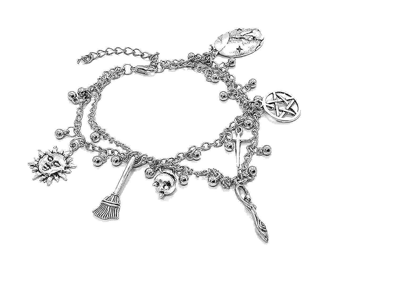 Eclectic Shop Uk Pa/ïen Wiccan Cheville Bracelet de Cheville Poignet Double Cha/îne Breloque Bracelet Perle Argent Ton D/éesse Li/èvre Athame Pentacle Balais Balai Breloque