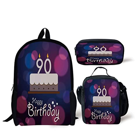 Amazon IPrint School Lunch Pen90th Birthday DecorationsDreamy Layout With Color Spots Artistic Graphic Cake DesignBlue Pink WhiteBags Sports