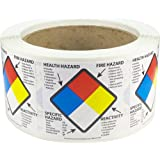 Right to Know Labels Health Fire Reactivity Specific Hazard 2 x 2 Inch Square 500 Adhesive Stickers