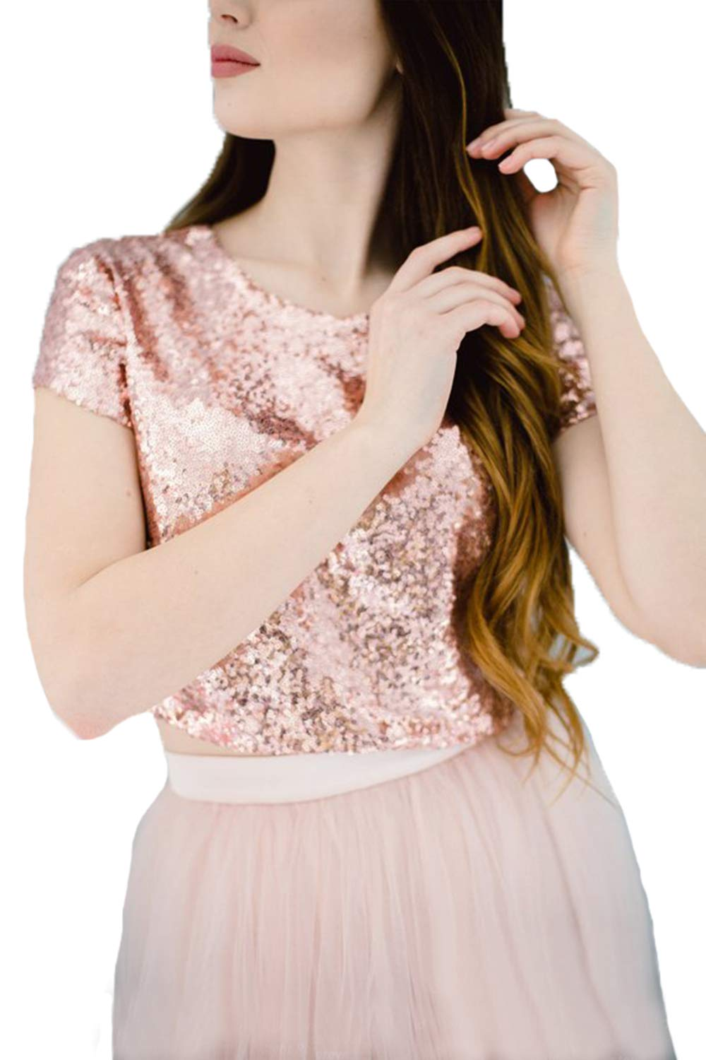 Heypen Women's Sparkly Sequins Tops Shimmer Glam Sequined Party Blouse Jackets Rose Gold