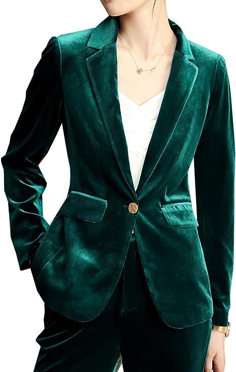 da ufficio giacca aderente con risvolto e giacca da ufficio Giacca da donna in velluto casual da lavoro formale
