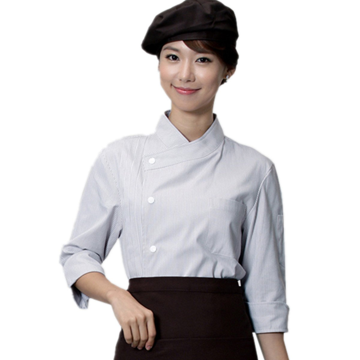 XINFU Chef's Uniform Single Breasted 3/4 Long Sleeve Hotel Western Restaurant Kitchen Chef Jacket