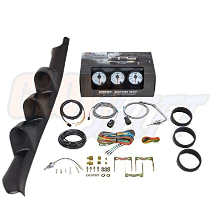 GlowShift Diesel Gauge Package for 1995-1998 Chevrolet Chevy C/K 2500 3500  Truck - White 7 Color 60 PSI Boost, 2400 F Pyrometer EGT & Transmission