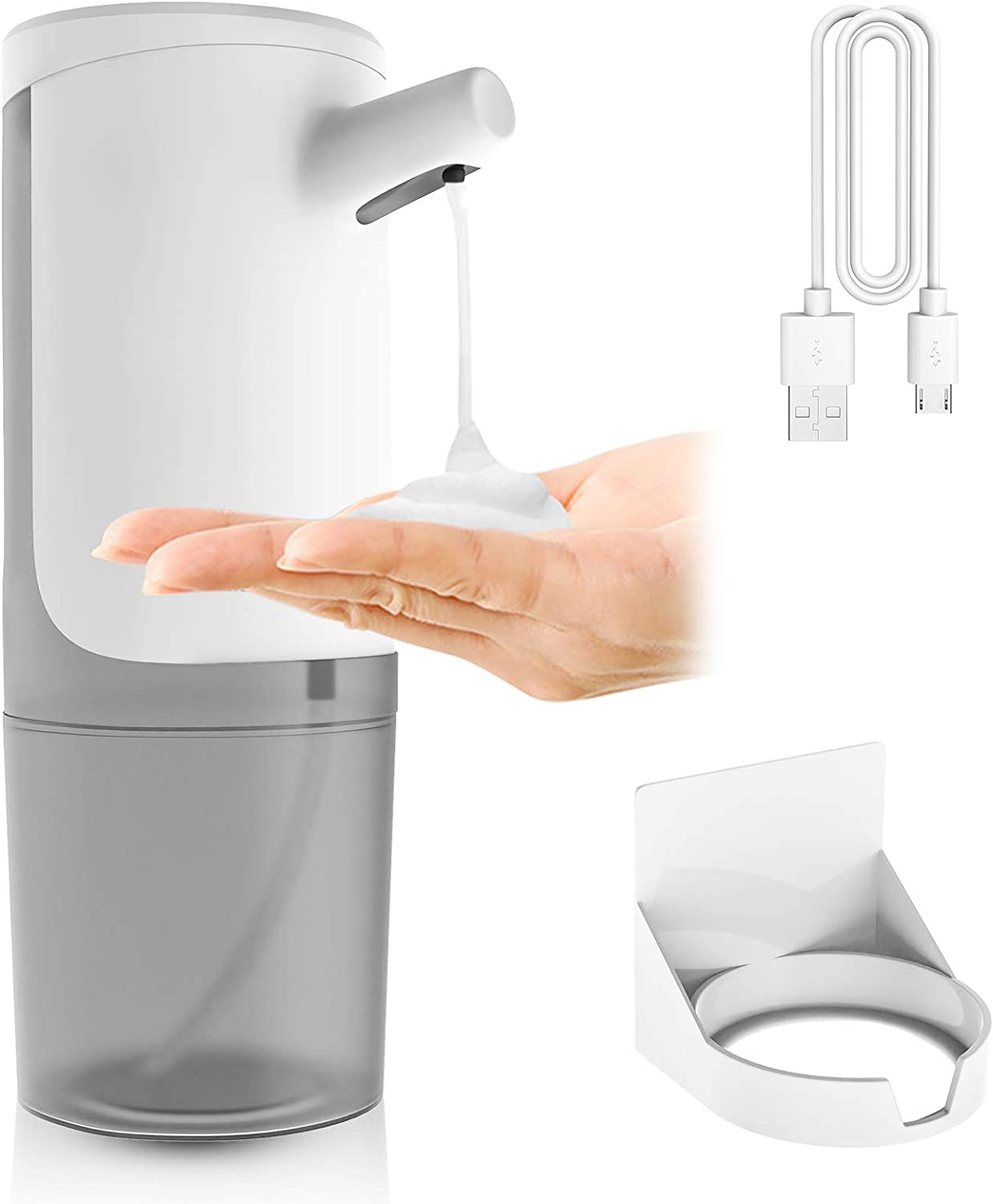 MRHUSH Automatic Foaming Hand Soap Dispenser Touchless, Countertop and Wall Mount, Rechargeable and Adjustable Foam Volume, IPX4 Waterproof, 450ml