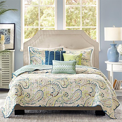 (Madison Park Tamira 6 Piece Quilted Coverlet Set, Queen, Multicolor)