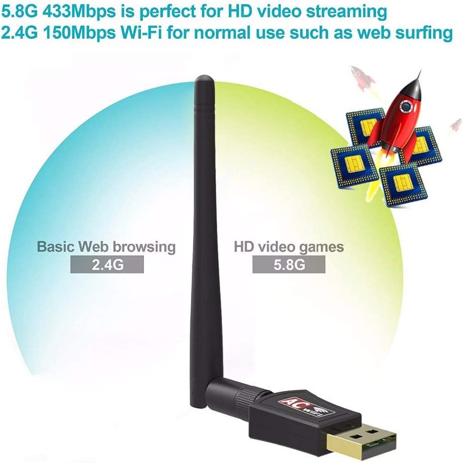 Network Cards WiFi Adapter USB Dual Band 600Mbps 5//2.4Ghz LAN Antenna WiFi for Win 7 8 10 Mac Vista Windows XP Packing with CD