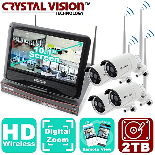 B&w Cctv Camera (Crystal Vision CVT9604E-3010W Premium All-in-One TRUE HD Wireless Surveillance System NVR CCTV w/ Built-in Monitor & Camera Auto Pair Built-in Router)