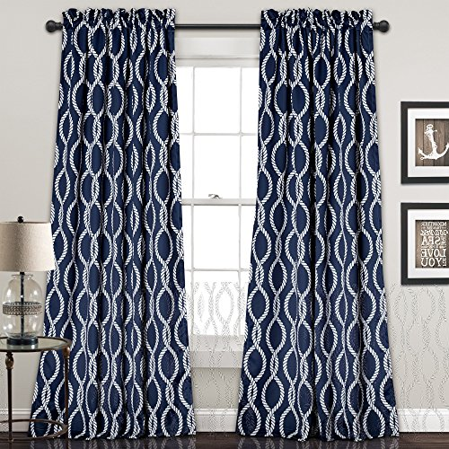 2 Piece Boys Rope Knot Navy Blue White Window Curtain Set, 84 Inch Nautical Pattern Panels Pair, Blue Colour Kids Themed Teen Allover Polyester Pretty Modern Contemporary Vibrant Rod Pocket