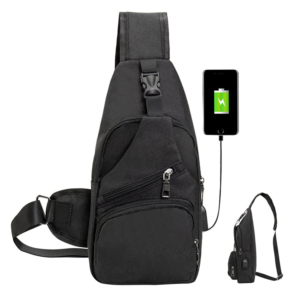 CoolMartus USB Charging Chest Bag Anti Theft Backpack CrossBody Slim Sling Bag