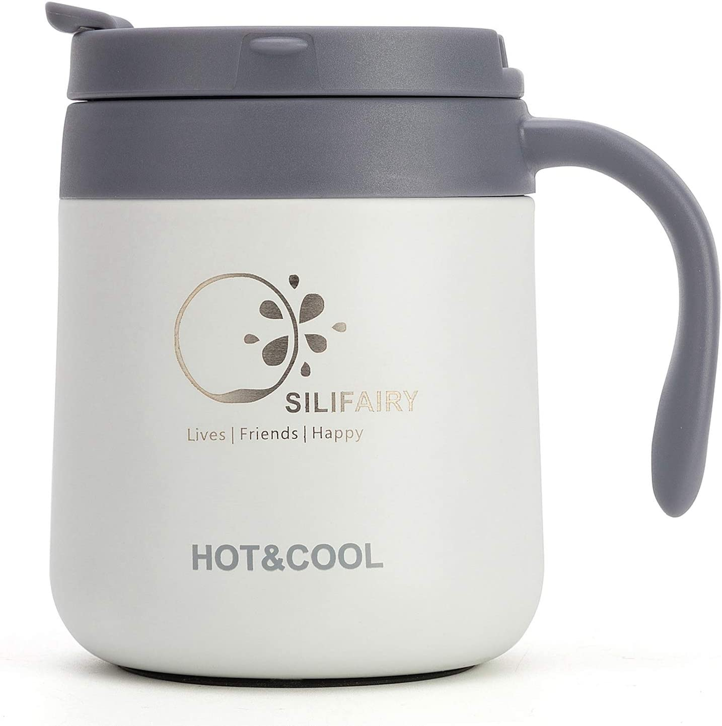 Black Ezprogear Double Wall Stainless Steel 11 oz Insulated Coffee Mug with Slider Lid