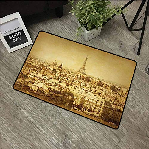 "LOVEEO Bedroom Doormat,Eiffel Tower Classic Photo of Eiffel Tower Paris National Landmark Old Album Memories Vintage,Bathroom mat,16""x24"" Brown"