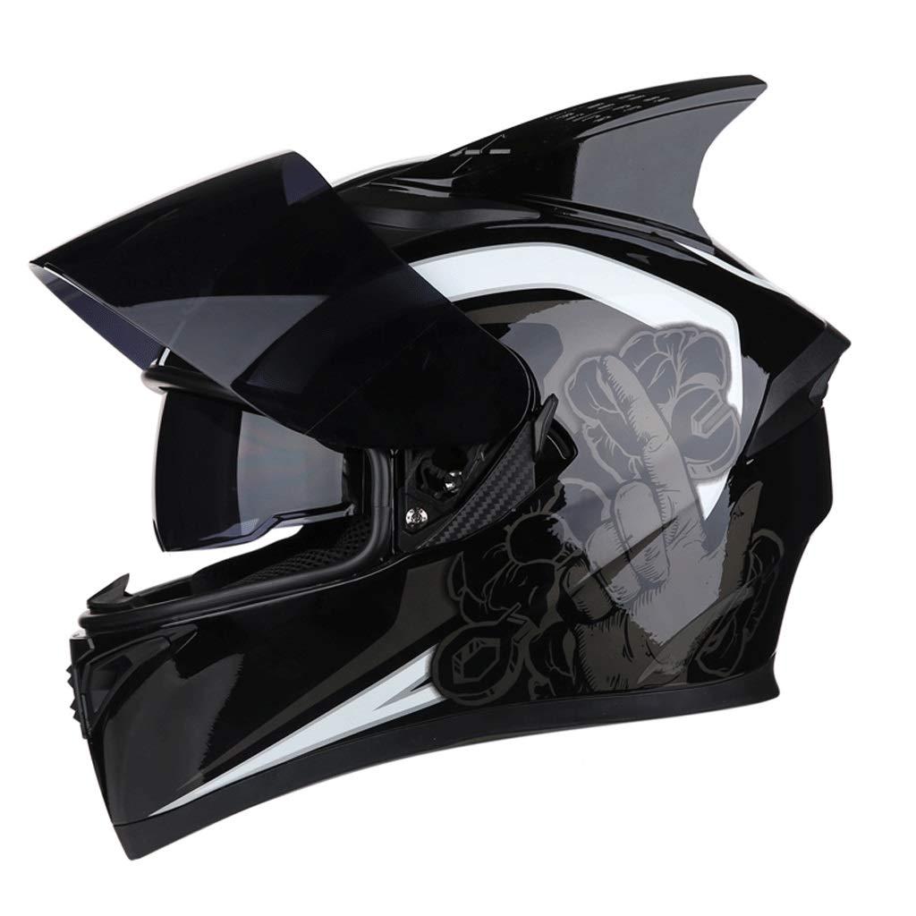 ダブルレンズヘルメットモトクロスフルフェイスヘルメット取り外し可能な裏地付きマウンテンバイク乗馬用ヘルメット (色 : J j, サイズ さいず : XXXL) B07PJ8YNT1 X-Large|H h H h X-Large