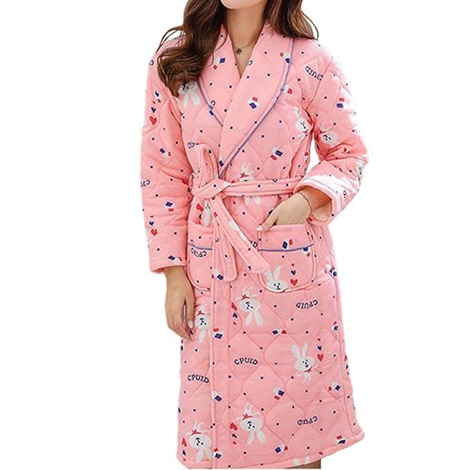 Bata De Algodón Bata De Mujer Invierno Cálido Camisón Casual Hogar Loungewear: Amazon.es: Ropa y accesorios