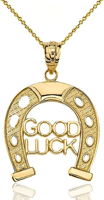 """Good Luck Horseshoe Pendant Necklace 18/"""" or 24 Inch Lucky Horse Shoe Charm"""