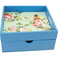 Dime Store MDF Tray for Dining Table Serving Tray for Home and Kitchen Storage Tea Bed Tray (Standard, Blue)