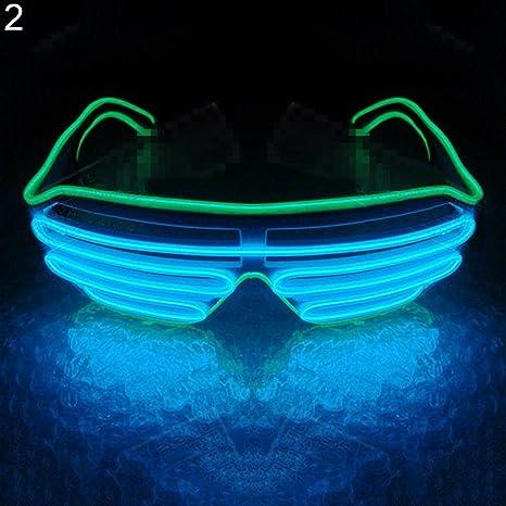 Nattnjf Led Brille Für Die Augen Mit Doppelter öse Unisex Blinkend Halloween Brille Amazon De Küche Haushalt