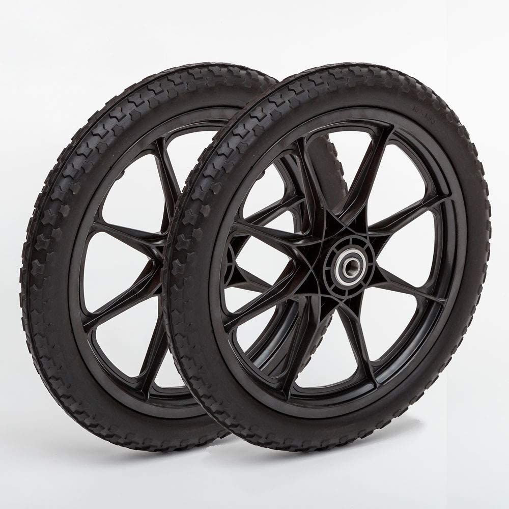 Set of 2 Flat Free 16+1.95 Plastic Spoke Wheels, Lawnmower, Garden Cart, Pony Wagon Replacement, 5/8 Bearing
