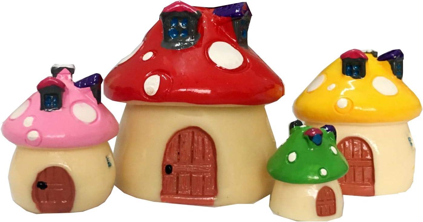 Tophappy Miniature Fairy Garden House Statues for DIY Fairy Garden Dollhouse Décor (4pcs Mushroom House)