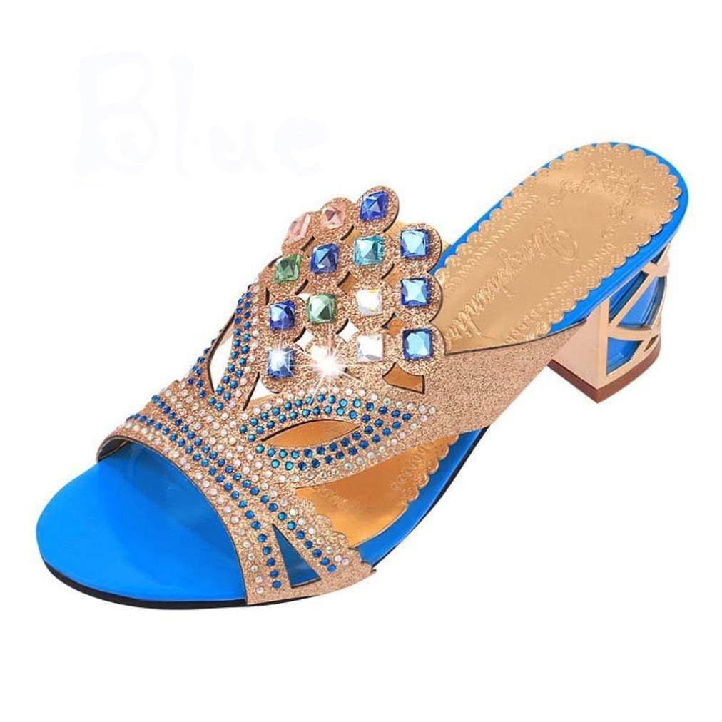 DEELIN Schuhe Damen Neue Sommermode Große Strass High Heel Sandaletten Party Freiliegende Zehe Schuhe  35|Himmelblau