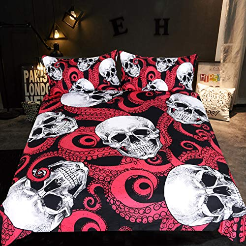 Sleepwish Octopus Ocean Skull Bedding, Under The Sea Octopus Tentacle Wrapped Skull Pattern Duvet Cover, Black Red White Bed Sets for Girls Boys (Queen)