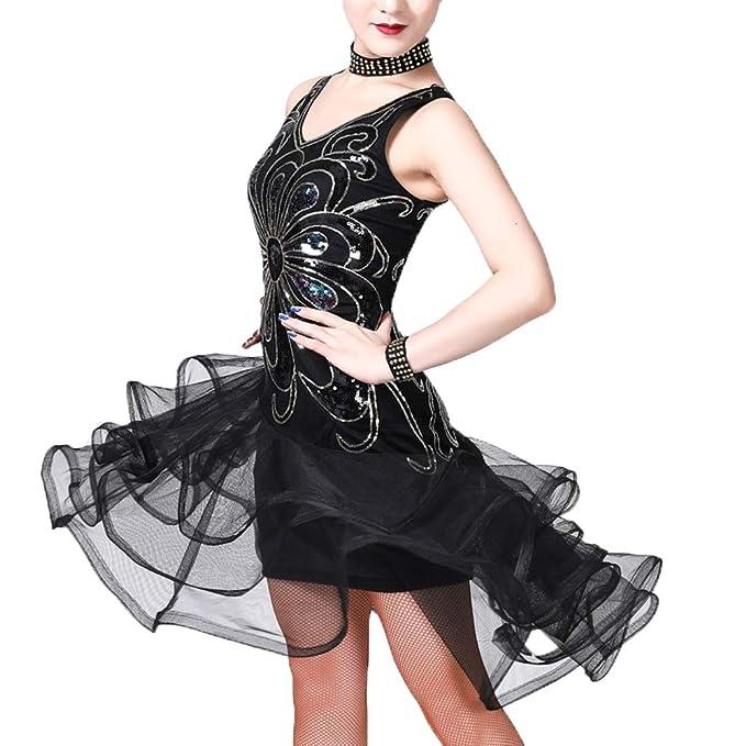 Z/&X Women Dancewear Rhinestone Fringed Sleeveless Latin Dance Dress 4 Pieces Outfits