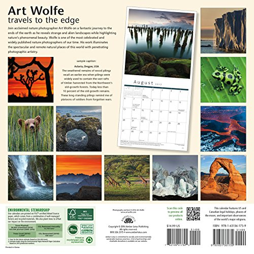 Art Wolfe 2017 Wall Calendar: Travels to the Edge Nature Photography From Around the World