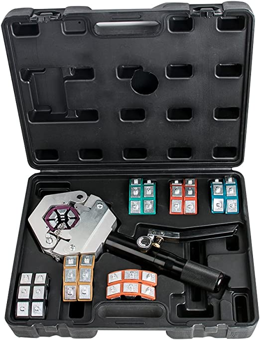 Hydraulic A//C Hose Crimper Tool Kit Hand Tool Crimping Set Hose Fittings 7 Dies