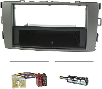 tomzz Audio 2455-009 - Juego de embellecedor de radio compatible con Toyota Auris E150 plata con adaptador de radio ISO, adaptador de antena ISO DIN