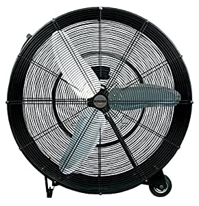 Hurricane Drum Fan - 36 Inch | Pro Series | High Velocity | Heavy Duty Metal Drum Fan for Industrial, Commercial, Residential, and Greenhouse Use - ETL Listed, Black