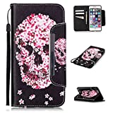 iPhone 6S Case,iPhone 6/6S 5SE Wallet Case,Kmety(TM) for iPhone 6 PU Leather 2in1 Case Flip Folio Magnetic Design[Built-in Credit Card Slots]with Painted Petals Skull Pattern