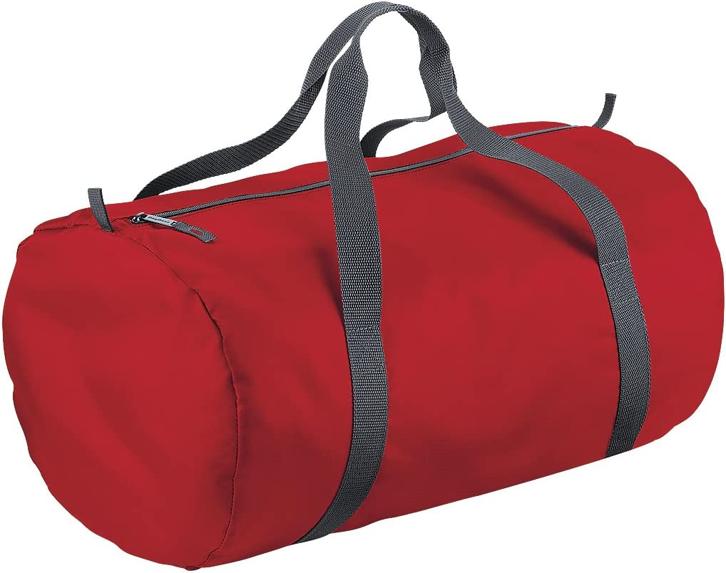 One Size Olive Green // Black BagBase Packaway Barrel Bag // Duffle Water Resistant Travel Bag 32 Litres