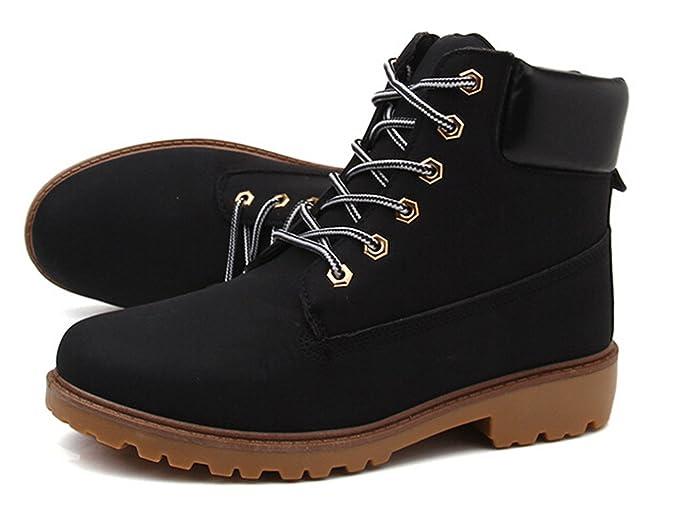 Herbst Winter Frauen und Herren schnüren sich oben Stiefel, Arbeitssicherheit Marten Stiefel Paar Rutschfeste Schuhe plus Größe (46, Winter-Gelb)