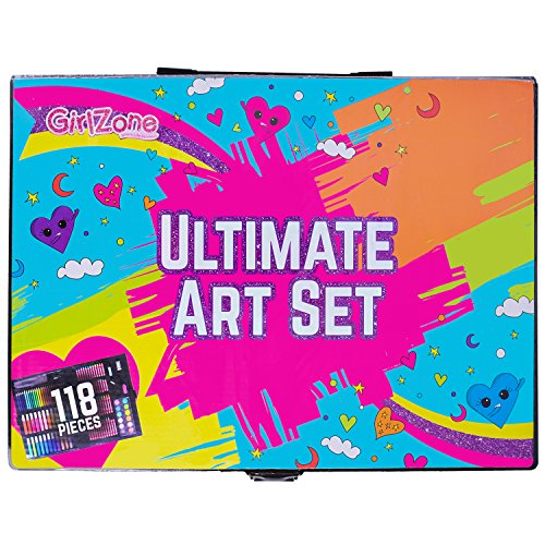 GirlZone: 118 Piece Art Set with Carry Case. Great Christmas, Birthday Gifts Present for Girls - Creative Arts and Crafts Gift for Kids Age 3 4 5 6 7 8 Years Old.