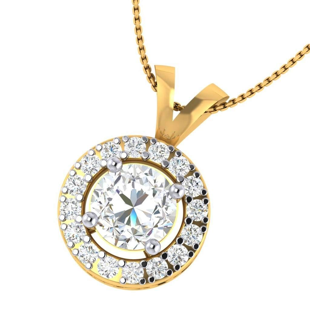 Hanssini Jewels 14k Yellow Gold Plated 1.75 CT Round Cut Clear CZ Halo Pendant Necklace 18 Chain