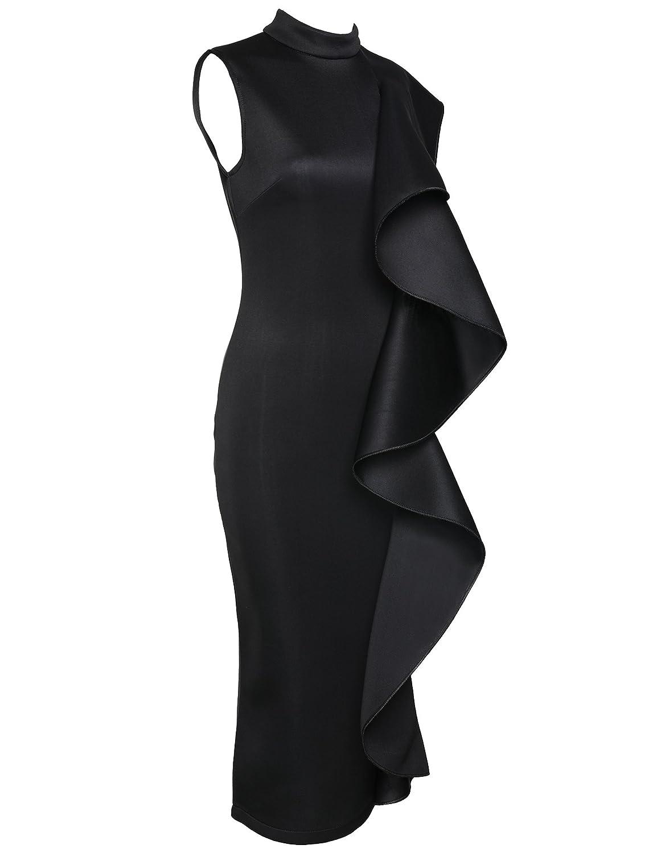 cfbbfe1943f6e7 Amazon.com  Women s Clubwear Dress Sleeveless Ruffles Bodycon Cocktail  Party Dress  Clothing