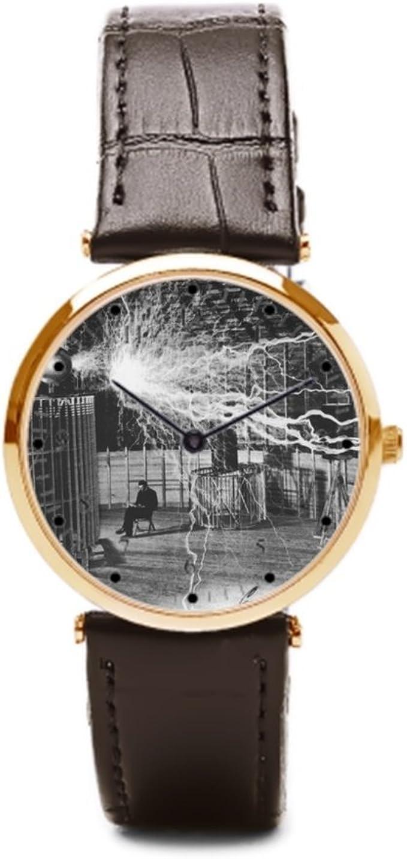 aromar Nikola Tesla en su Colorado Springs Lab (piel reloj barato Relojes de pulsera. Nikola Tesla – Estuche para relojes: Amazon.es: Relojes