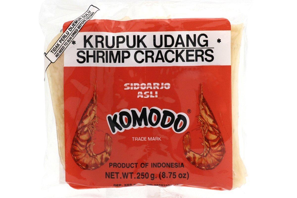 Komodo Krupuk Udang (Shrimp Crackers Large Disks Not Yet Fried) - Komodo Kroepoek Ongebakken Grote Schijven 8 Oz -227gm (Pack of 2)