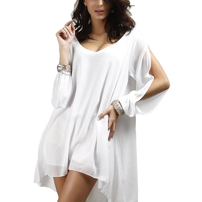 Zhhlaixing Moda Escote en V Gasa Suelto Alinear Vestir Fuera del Hombro Blusas y Tops para