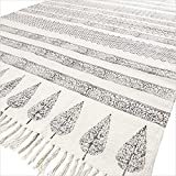 Eyes of India - 4 X 6 ft Black White Cotton Block Print Area Accent Dhurrie Rug Flat Weave Woven Boho Chic Indian Bohemian