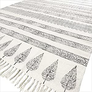 EYES OF INDIA - 4 X 6 Ft Black White Cotton Block Print Area Accent Dhurrie Rug Flat Weave Woven
