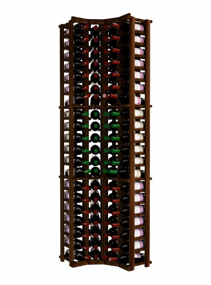 Wine Cellar Innovations TR-DW-CURV-A3 Traditional Series Curved Corner Wine Rack, Premium Redwood, Dark Walnut Stain