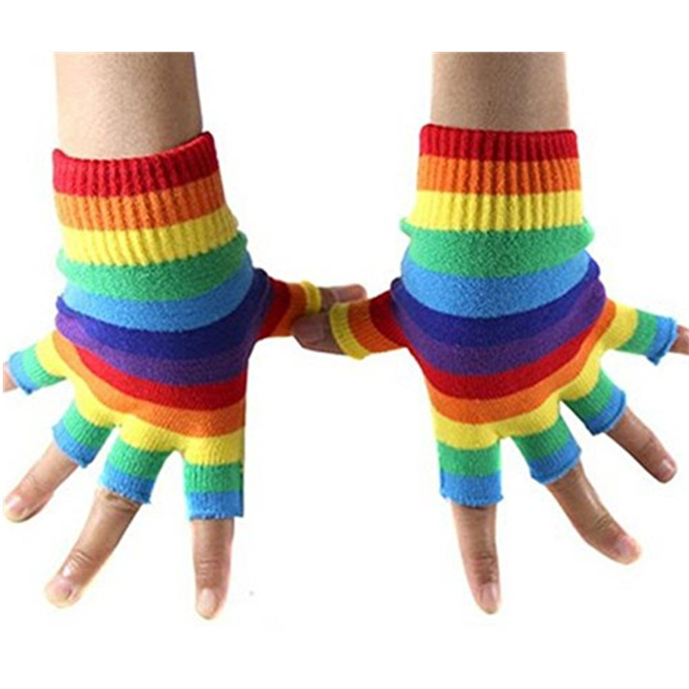 Jelinda® Rainbow Fingerless Gloves Colorful Warmer Stripes Knit Gloves for Women O1SEAC-PL-G009-MC